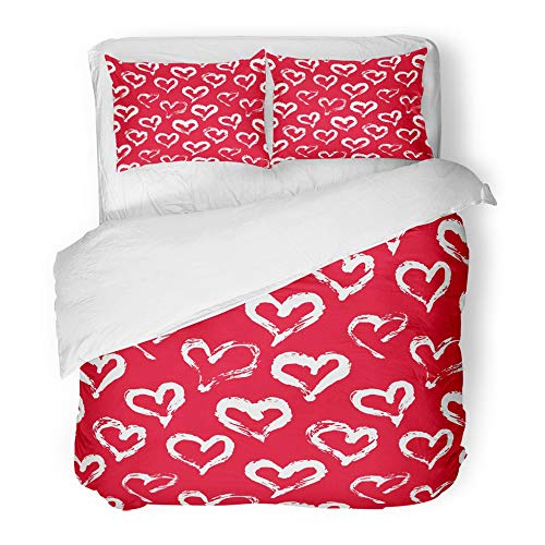 Printable Red Heart - Emvency Bedding Duvet Cover Set King (1 Duvet Cover + 2 Pillowcase) Heart Pattern with Ink Red and White Love for Printables Baby Birthday Handdrawn Hotel Quality Wrinkle and Stain Resistant