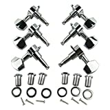 Musiclily 3+3 Electric Guitar Sealed String Machine Heads Tuning Pegs Keys Tuners Set, Big Button Chrome