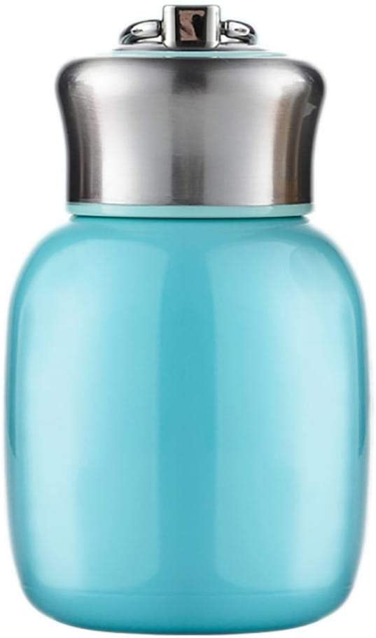 Botella térmica pequeña de 200 ml, con aislante al vacío, botella de agua sin fugas, para zumo, leche, vacío, para bebidas frías y calientes, regalo para niños y adultos talla única azul