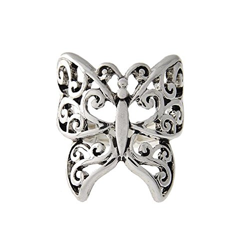 Antiqued Silver Filigree Butterfly Wrap Ring (Antiqued Filigree Butterfly Ring)