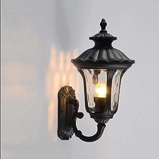 HZB Corridoio esterno del corridoio del corridoio della lampada da parete, lampada da parete antica europea, lampada esterna impermeabile del cortile della villa del nero (Size : S)