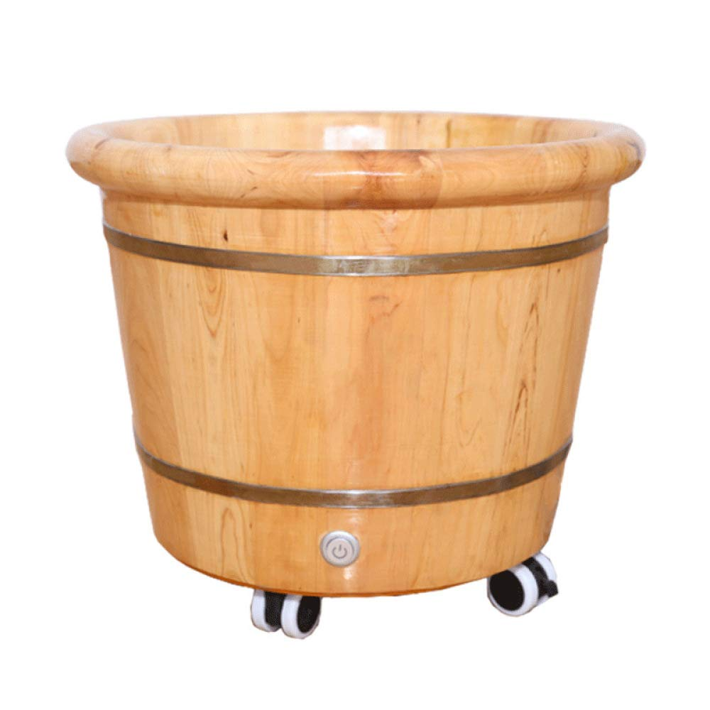 ZXDFG Adult Wooden Barrel Foot Bath Barrel Pedicure Oak Basin with Pulley Home Pedicure Barrel Heating Constant Temperature Suitable for Families and Hotels