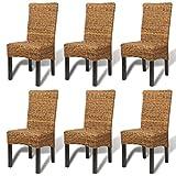 vidaXL 6X Dining Chair w/Backrest Rattan Abaca Wicker Solid Mango Wood Seats Review