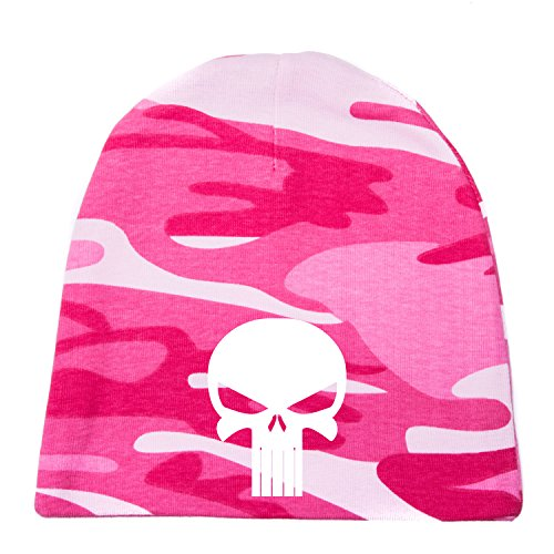 Crazy Baby Clothing White Punisher Skull Infant Baby Beanie Cap Winter Hat One Size, Hot Pink Camo