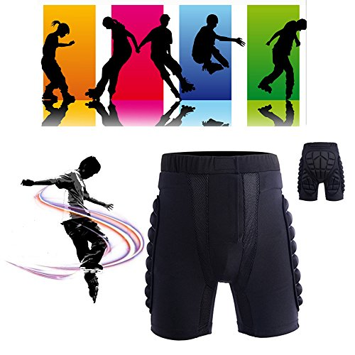 Max&Mix Unisexs 3D Padded Short Protective Hip Butt Pad Ski Skate Snowboard Skating Skiing Protection Drop Resistance Roller Compression Shorts Pants for Outdoor Sports,XL