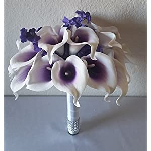 Purple Ivory Calla Lily Bridal Wedding Bouquet & Boutonniere 106