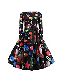 Pervobs Women Christmas Print Long Sleeve O-Neck Evening Party Swing Pleated Dress