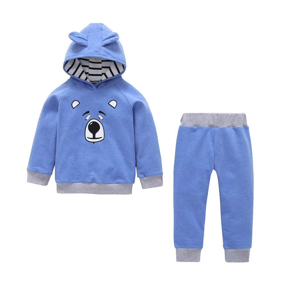 2019 Vovotrade Toddler Baby Boy Girl Clothes Suit Newborn Cute Cartoon Print Long Sleeve Hooded Tops+Pants Outfit Set for 0-2 Years Old