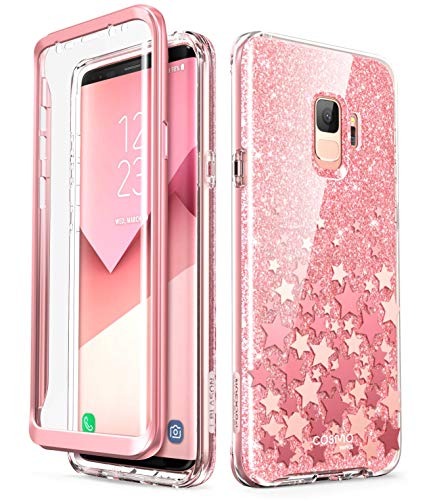i-Blason Cosmo Series Designed for Galaxy S9 Case, Full-Body Glitter Bumper Protective Case with Built-in Screen Protector for Samsung Galaxy S9 2018 Release (Pink)