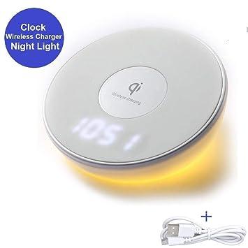 GWJNB Cargador Inalámbrico, Qi Cargador De Carga Rápida Soporte Digital Reloj De Alarma Reloj De