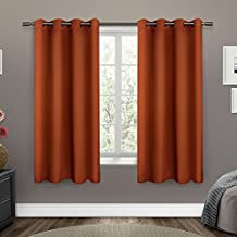 Exclusive Home Curtains Sateen Twill Weave Insulated Blackout Grommet Top Window Curtain Panel Pair, Mecca Orange, 52x63