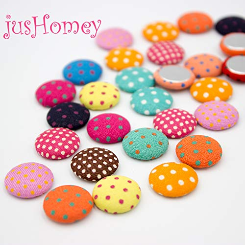 (Maslin 50PCS 15mm Mixed Colors Polka Dot Fabric Covered Buttons Flatback Buttons for DIY Jewelry, Sewing Project - (Color: Mix, Size: 15mm))