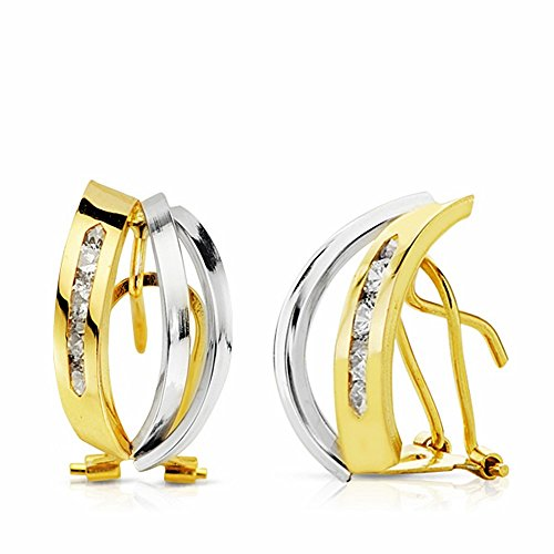 Boucled'oreille 16mm 18k bicolor d'or. bandes zircons [AA2191]