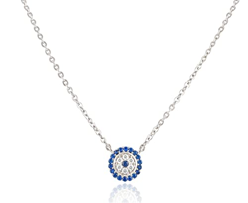 67499f5783a4 Image Unavailable. Image not available for. Color  Sterling Silver Cz Small Evil  Eye Necklace
