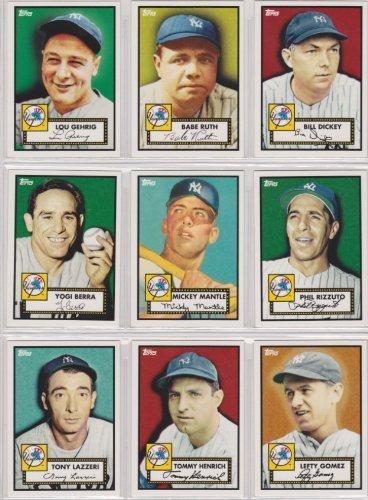 New York Yankees 2010 Topps Baseball 27 Card Complete Set (27 Years of Yankee Championships) (14 with 1952 Topps Design) (Mickey Mantle) (Lou Gehrig) (Babe Ruth) (Tony Lazzeri) (Bill Dickey) (Tommy Henrich) (Lefty Gomez) (Charlie Keller) (Leo Durocher) (Red Rolfe) (Yogi Berra) (Hank Bauer) (Johnny Mize) (Phil Rizzuto) (Roger Maris) (Elston Howard) (Don Larsen) (Derek Jeter) (Alex Rodriguez) (Andy Pettitte) (Jorge Posada) (Mariano Riveria) (Thurman Munson) (Reggie Jackson)