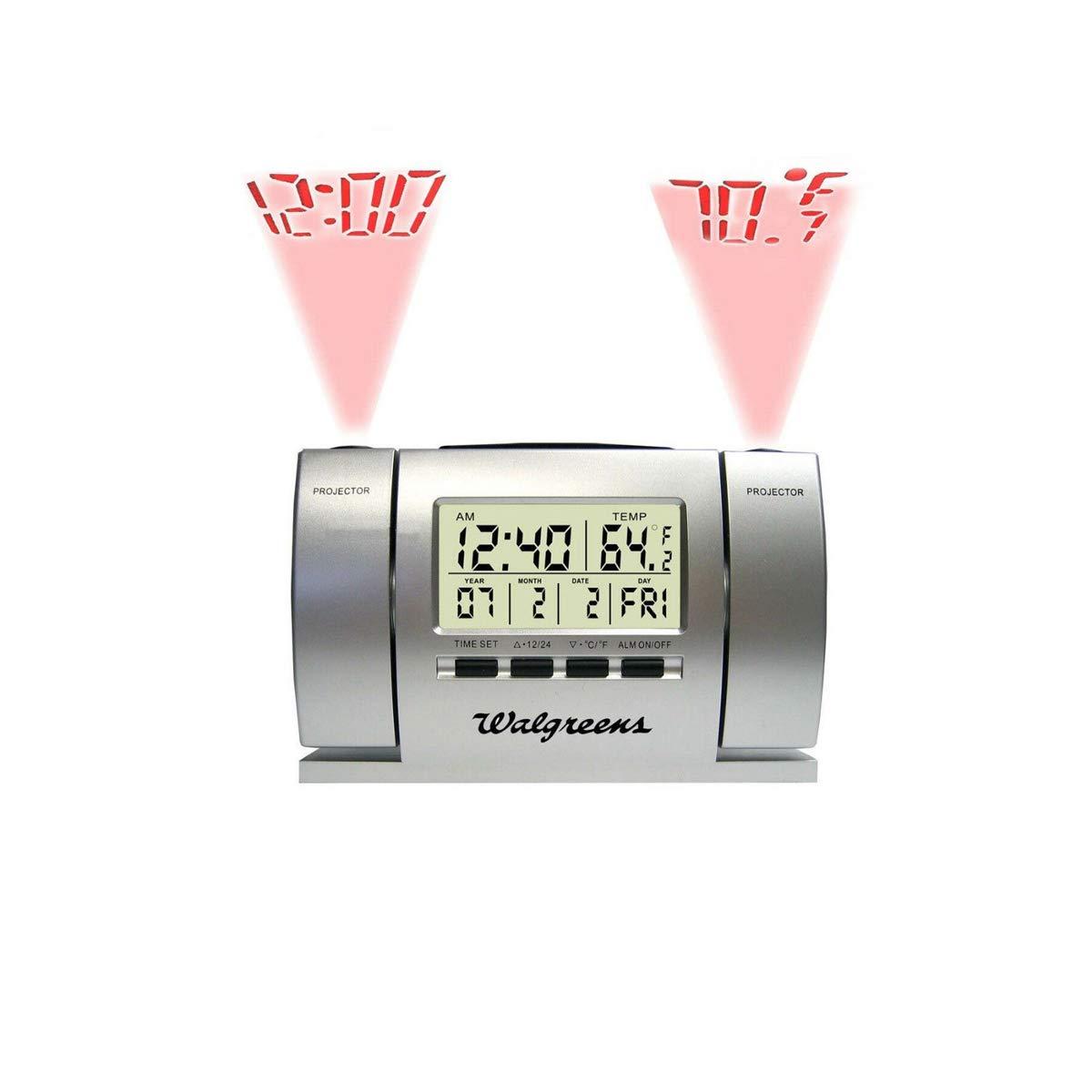 CommVeloEuropa - Reloj LCD Despertador con proyector Doble: Amazon ...