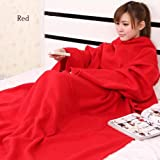 Snuggie Fleece Warm Blanket With Sleeves Cuff Option: Red