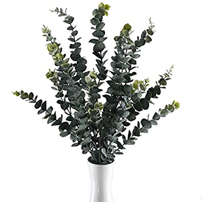 GTIDEA 3PCS 34.6 inches Artificial Eucalyptus Branches Large Frosted Fake Greenery Leaves Stems Shrubs Plastic Outdoor Plants Flower Arrangements Anti-UV Home Office Wedding Floor Vase Filler Decor