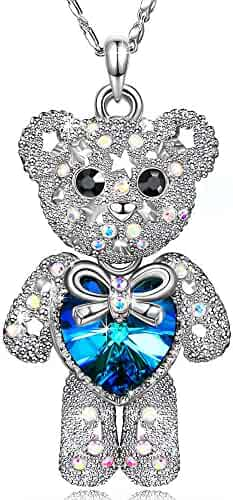 Special Outlook Teddy Bear Necklace - Blue Love Heart Crystal Pendant - Cute Birthstone Jewelry for Women and Girls