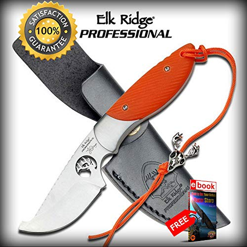 6.8'' Elk Ridge Professional Orange Upswept Blade Hunting SHARP KNIFE Laser Etch Combat Tactical Knife + eBOOK by Moon Knives