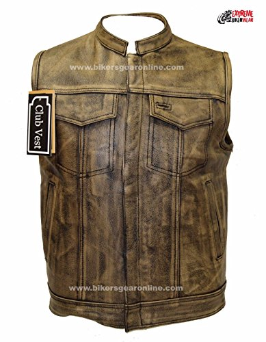 Dealer Leather MEN'S MOTORCYCLE DISTRESSED BROWN SON OF ANARCHY STYLE LEATHER VEST AMAZING (52 Regular) ()