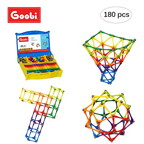(Goobi 180 Piece Construction Set Building Toy Active Play Sticks STEM Learning Creativity Imagination Children's 3D Puzzle Educational Brain Toys for Kids Boys and Girls with Instruction Booklet)