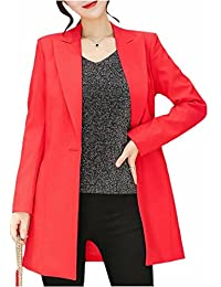 ONTBYB Women's Business Solid Long Sleeve Long Blazer Suit Trench Coat