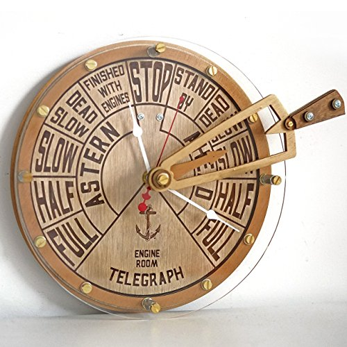 Engine order telegraph with moving handle unique wooden wall clock, personalized gift, wall art, nautical decor, marine decoration