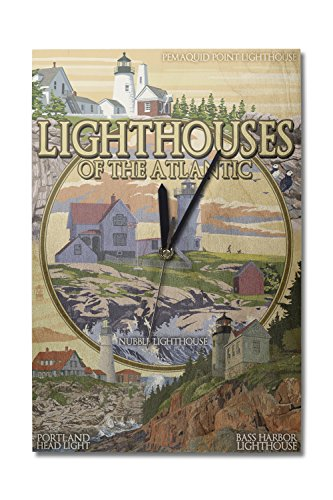 Lantern Press Lighthouses of Maine Montage (10x15 Wood Wall Clock, Decor Ready to ()
