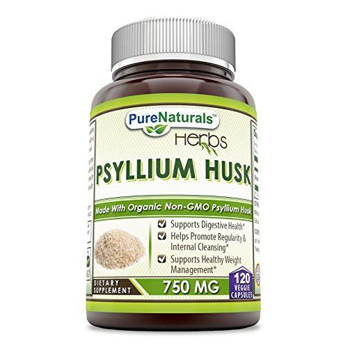 Psyllium Husk 100 Capsules - Pure Naturals Psyllium Husk - 750 mg Platango Ovata Fiber Capsules Veggie Capsules (120 Count)
