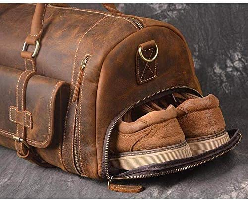 Vintage Crazy Horse Leather men's Travel Duffle luggage Bag Gym Sports Overnight Weekend 28