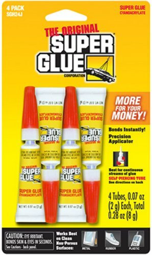 Super Glue Corp/pacer Tech SGH24J, 4 Pack (4-0.07oz/2g, total 0.28oz/8g) by Super (0.07 Ounce Super Glue)