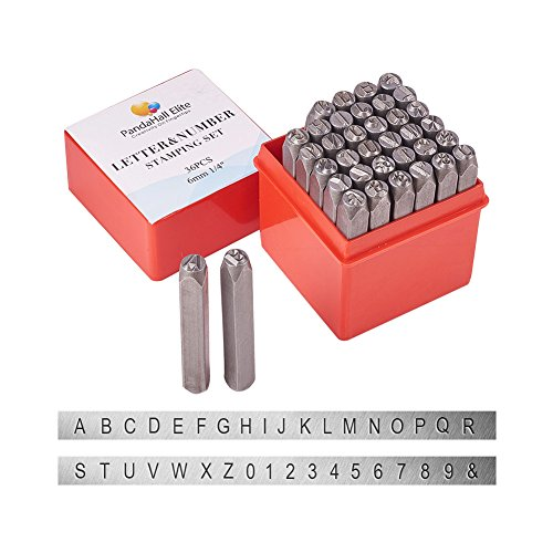 "PandaHall Elite 36 Pcs Letter and Number Metal Stamp Set, 1/4"" 6mm, Alphabet A to Z and Number 0 to 9 and Symbol, Iron Uppercase Stamps Punch Press Tool for Imprinting on Metal Jewelry Leather Wood"
