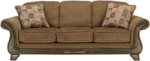 Signature Design by Ashley Montgomery Queen Size Traditional Sleeper Sofa w 2 Accent Pillows, Mocha