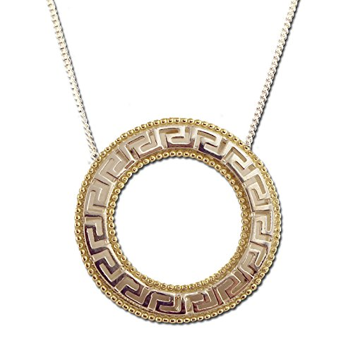 Two Tone 18K Gold Plated Sterling Silver Round Greek Key Pendant with Chain ()
