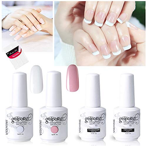 Vishine Gel Polish French Manicure Kit Top Base Coat Set Nail Gel Color White Pink Pedicure (Best French Manicure Set)