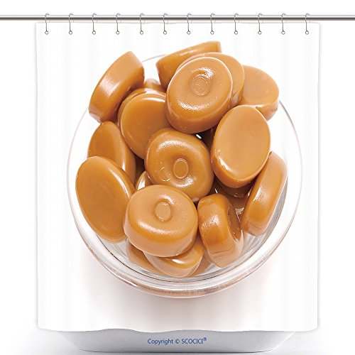 Waterproof Shower Curtains Caramel Candies In A Glass Bowl Isolated On White 95382874 Polyester Bathroom Shower Curtain Set With Hooks