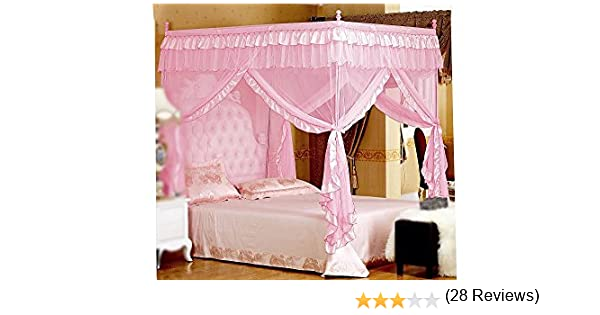 Amazon.com - Pink Princess 4 Corners Post Bed Curtain Canopy Mosquito  Netting (Full