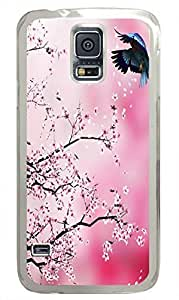 Transparent Fashion Case for Samsung Galaxy S5 Generation Plastic Case Cover for Samsung Galaxy S5 with Peach Blossom and the Swallow