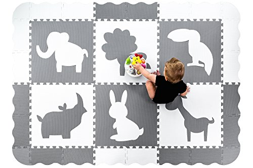 Wee Giggles Extra Large Baby Play Mat  5X7   Thick  Non Toxic Gender Neutral Nursery Foam Floor Tiles  Grey   White