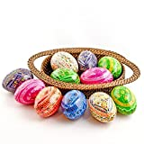BestPysanky 12 Hand Painted Ukrainian Wooden Easter Eggs in Assortment