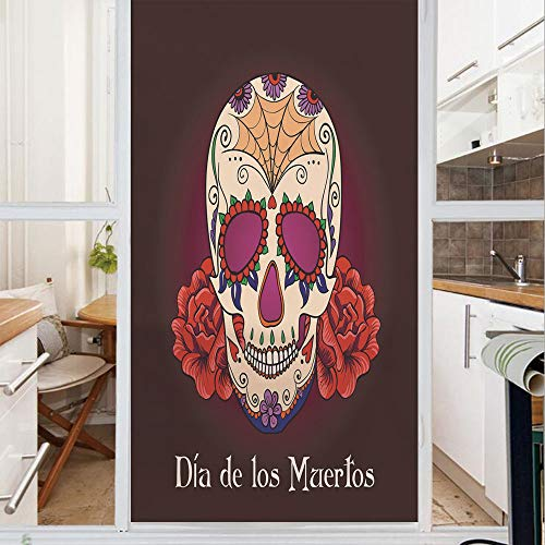 Decorative Window Film,No Glue Frosted Privacy Film,Stained Glass Door Film,Dia de Los Muertos Quote with Spanish Skull Dead Head Vivid Print,for Home & Office,23.6In. by 78.7In Plum Red Cream