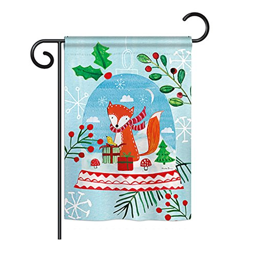 "Breeze Decor G164203 Snow Globe Fox Decorative Vertical Garden Flag, 13"" x 18.5"" Multicolor"