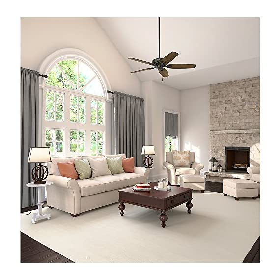 "Hunter builder elite indoor ceiling fan with pull chain control, 52"", new bronze 10 classic ceiling fan: the traditional builder elite traditional fan comes with harvest mahogany reversible blades that will keep home interior and exterior current and inspired; measures 52 x 52 x 11. 27 inch multi-speed reversible fan motor: whisper wind motor delivers ultra-powerful airflow with quiet performance; change the direction from downdraft mode during the summer to updraft mode during the winter pull chain control: turn the bronze ceiling fan on/off and adjust the speed quickly and easily with the pull chains"