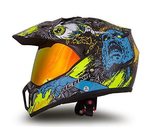 NENKI Dual Sport Helmet Full Face Motocross & Motorcycle Helmets Dot Approved with Iridium Red Visor Attached Clear Visor NK-310 (XL 60-61CM, Green Skull Graphic)