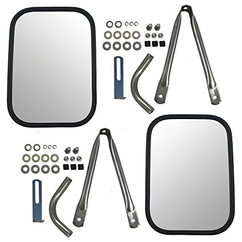Set Universal Camper Tow Mirrors 7.5 x 10.5 Stainless Steel w/Short Bracket Replacement for Chevy GMC Suburban Pickup Truck 12341380