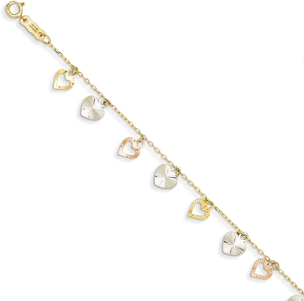 14k Tri Color Yellow White Gold Heart Bracelet 7.25 Inch Charm W//charm//love Fine Jewellery For Women Valentines Day Gifts For Her