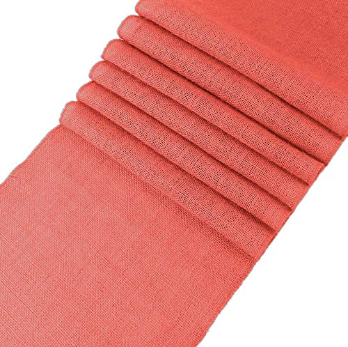 VDS - 1 Natural Burlap 12x108 inch Table Runner Natural Jute Country Vintage Runners for Wedding Party Ceremony Decorations Supplies -(Coral) ()