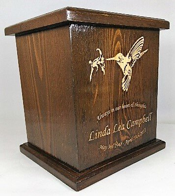 Humming Bird Cremation Urn, Wooden Urn, Adult Funeral Wooden Urn With personalized Engraving by NWA (Image #3)