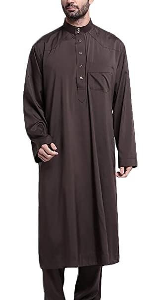 Amazon.com: bywx-men Thobe con mangas largas árabe musulmán ...